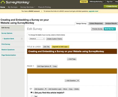 create a survey screen in surveymonkey